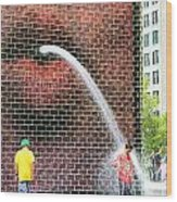 Kids Play In City Fountain Wood Print