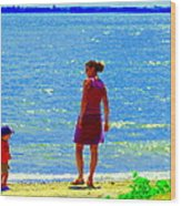 Kids Playing On The Seashore Mom And Little Boys Pointe Claire Montreal Waterscene Carole Spandau Wood Print