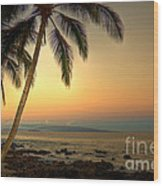 Kihei Palm Sunrise Wood Print
