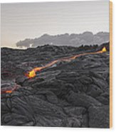 Kilauea Volcano 60 Foot Lava Flow - The Big Island Hawaii Wood Print