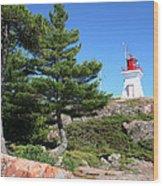 Killarney Lighthouse On The Rocks  Wood Print