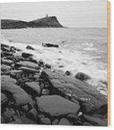 Kimmeridge Bay In Black And White Wood Print