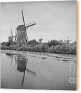 Kinderdijk In Black And White Wood Print