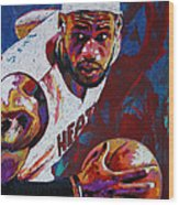 King James Wood Print by Maria Arango