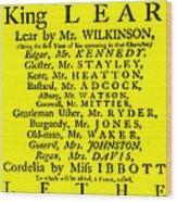King Lear Playbill Wood Print
