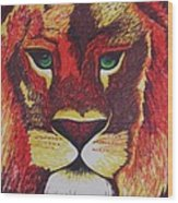 Lion In Orange Wood Print