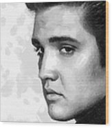King Of Rock Elvis Presley Black And White Wood Print