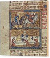 King Riding And At Table Wood Print