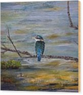 Kingfisher Over Estuary Wood Print