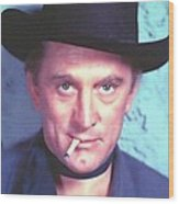 Kirk Douglas In Man Without A Star Wood Print by Art Cinema Gallery