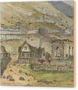 Kirk G Boe Inn And Ruins Faroe Island Circa 1862 Wood Print by Aged Pixel