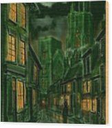 Kirkgate And Bridlington Priory By Moonlight Wood Print