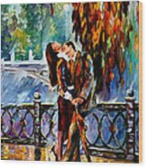 Kiss After The Rain - Palette Knife Oil Painting On Canvas By Leonid Afremov Wood Print
