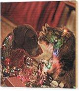 Kiss At Christmas Wood Print