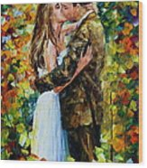 Kiss In The Woods Wood Print