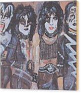 Kiss Rock Band Wood Print