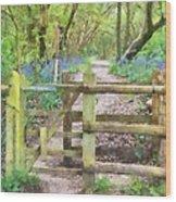 Kissing Gate Watercolour Wood Print