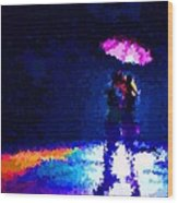 Kissing In The Rain Wood Print