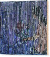 Kissing Rain Wood Print