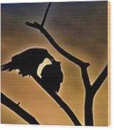 Kissing Ravens Wood Print