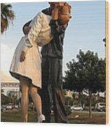 Kissing Sailor At Dusk - The Kiss Wood Print