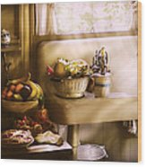 Kitchen - A 1930's Kitchen  Wood Print by Mike Savad