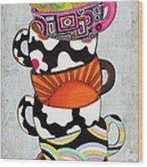 Kitchen Cuisine Stacked Hot Cuppa 1 By Romi And Megan Wood Print
