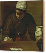 Kitchen Maid With The Supper At Emmaus, C.1618 Oil On Canvas Wood Print