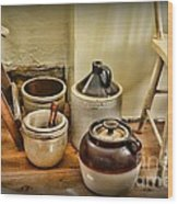 Kitchen Old Stoneware Wood Print by Paul Ward