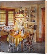 Kitchen - Typical Farm Kitchen  Wood Print by Mike Savad