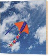 Kite Flying In Sky Wood Print