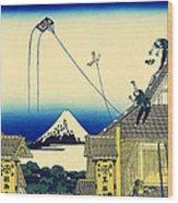 Kite Flying Over Mount Fuji Wood Print