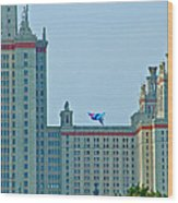 Kite Over Moscow University In Moscow-russia Wood Print