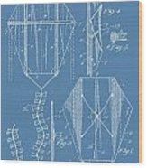 Kite Patent On Blue Wood Print