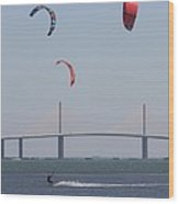 Kite Surfer And Skyway Bridge Wood Print
