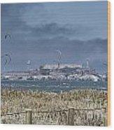 Kite Surfing Alcatraz Wood Print by Chuck Kuhn