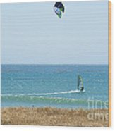 Kite Surfing And Wind Surfing Central Coast San Simeon California Wood Print by Artist and Photographer Laura Wrede