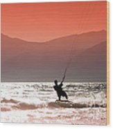 Kite Surfing Wood Print by Gabriela Insuratelu