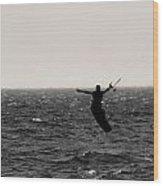 Kite Surfing Pose Wood Print