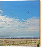 Kites Flying Over The Sand Wood Print