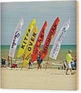 Kites Over Lake Michigan - Two Rivers Wi Wood Print