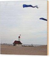 Kites Over Lake Ontario Beach Wood Print