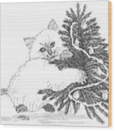 Kitten And Christmas Tree Wood Print