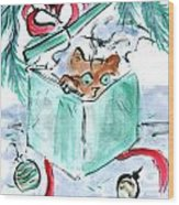 Kitten In A Shredded Present Wood Print