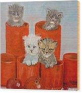 Kittens Ajar Wood Print