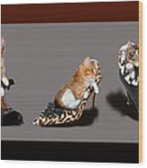 Kittens In Designer Ladies Shoes Wood Print