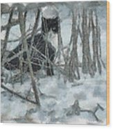 Kitty In The Cold Wood Print