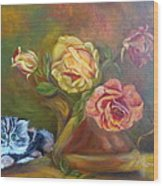 Kitty In The Roses Wood Print