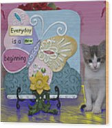Kitty Says Wow Wood Print
