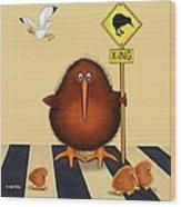 Kiwi Birds Crossing Wood Print